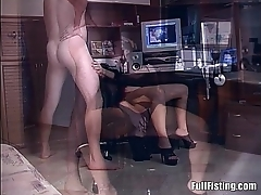 Brunette With respect to Lingerie Wacthing Porn Gets Pussy Fisted