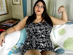 Busty BBW beauty plays with her soaking wet pussy for you