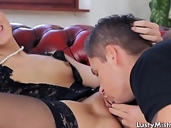 Couple lick each other clean