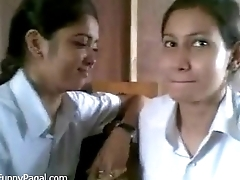 Two Indian School Girl Kissing In Medley