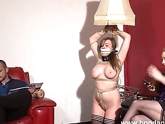 Sapphic livingroom bondage of cute gagged damsel wide distress Taylor Heart wide rop