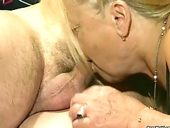 A handful of granny get fucked in foursome action