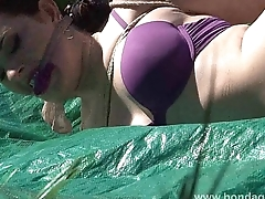 Outdoor bondage and cloth gagging of dominated submissive Caroline Pierce in pla