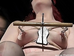 Extreme sapphist bdsm coupled with hardcore lezdom tit tortures of chubby redhead slaveslu