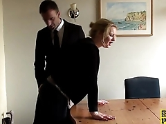 Throatfucked UK sub spanked in the balance red raw