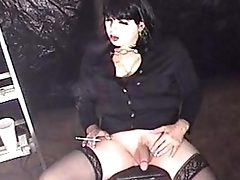 Smoking Shemale t-girl Michelle Love pleasuring herself smoking and stroking3