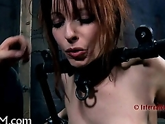 Caged babe coercive to give blowjob