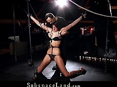 Tall slave girl disadvantage in suspension for bdsm hunger