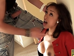 Squirting sub facefucked and pussy slammed