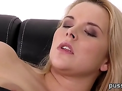 European cutie enjoys funny sex toy and shoves big dong in quim