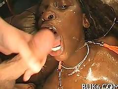 Moist blowjob hither titty fuck