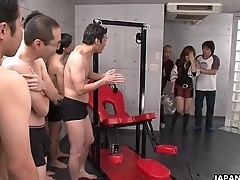 Asian school babe has a nasty gang banging session