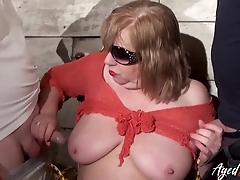 Fat of age whore enjoys blowing two dominating dicks