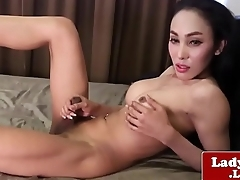 Cute Shy Ladyboy Wanks increased by Cums on Cam - More on Asiacamgirls.co