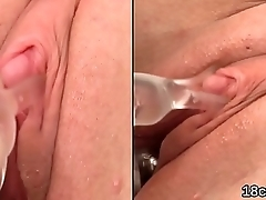 Sultry unfocused is gaping narrow snatch in closeup and having orgasm