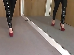 Sexy Latex Liquid Leggings with Red Stilettos Talisman More on: 18CAMS.CO
