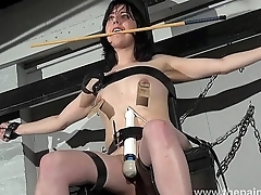 Enslaved Honesty Cabellero nipple clamped and spanked on the punishment bench