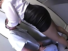 ballbusting, foot trampling and gloves faceslapping at the elevator